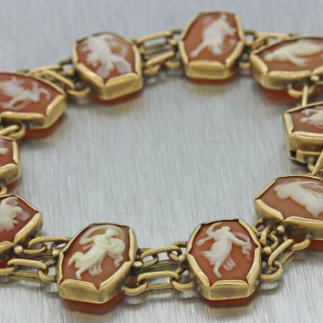 1930s Antique Art Deco Estate 14k Solid Yellow Gold Cameo Chain Bracelet 24g