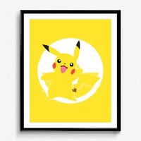 Super Smash Bros - Pikachu Spray Paint Poster - video game print, wall art, pokemon, nintendo