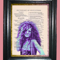 Janis Joplin Art Deco - Vintage Dictionary Page Book Art Print Upcycled Page Art Collage Print