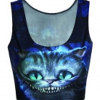 Cheshire Cat Digital Print Cropped Tank Top