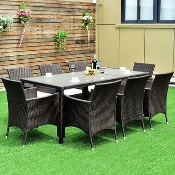 9PCS Patio Furniture Set Dining Brown Rattan Table Chairs Cushions Garden New