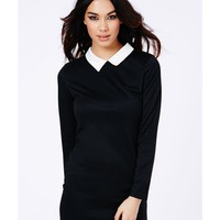 Missguided - Sumiko Long Sleeve Collar Dress In Black