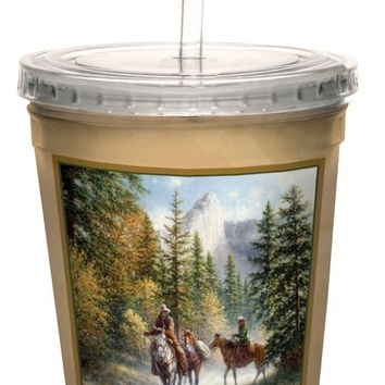 Tree-Free Greetings cc33062 Scenic Nevada Cowboys by Jack Terry Artful Traveler Double-Walled Cool Cup with Reusable Straw, 16-Ounce
