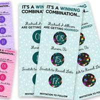 Scratch off Save The Date - Wedding Scratch Offs - Unique Save the Date - Winning Combination Save The Date Scratch off Card - Custom Colors