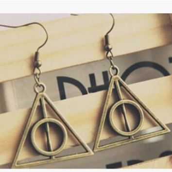 Earrings Vintage Deathly Hallows Triangle Women Drop Earrings Cheap Wholesale Antique Bronze/Silver Dangle Earrings