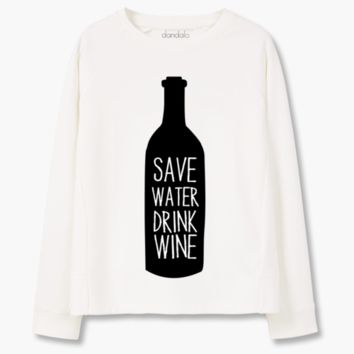 "Sweatshirt ""Save Water, Drink Wine"""