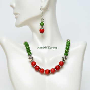 Green magnesite & Coral necklace set **Free US Shipping** Magnesite Necklace, Coral necklace, Boho necklace, Indian jewelry, Womens fashion