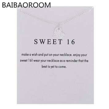 Fashion Jewelry Sweet 16 Heart Love Necklace Pendant Accessories Women Gifts