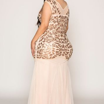 Fit and Flare Mermaid Hand Embroidered Evening Gown Dress