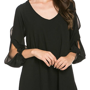 Evening Glam Flowy Dress - Black