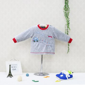 Little Q New Style O Neck Boys Blouse Newborn Long Sleeve Spring and Autumn Shirts Velour Baby Clothes Kids Sleepwear Clothing
