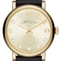 Women's MARC BY MARC JACOBS 'Baker' Crystal Index Leather Strap Watch, 36mm - Black/ Gold