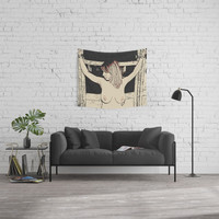NSFW Bondage play, slave girl 4, tied woman, sexy fetish fantasy, topless submissive Wall Tapestry by hmdesignspl