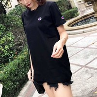 """Champion"" Women Casual Simple Embroidery Logo Short Sleeve T-shirt Top Tee"