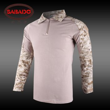 Camouflage military uniform US combat shirt only cargo multicam Airsoft paintball tactical clothing with elbow pads