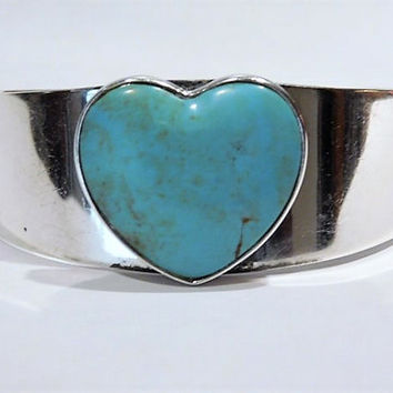 Vintage Turquoise Heart Cuff Sterling Silver Jay King GenuineTurquoise Gemstone Cuff DTR Desert Rose Trading Company Southwestern Jewelry