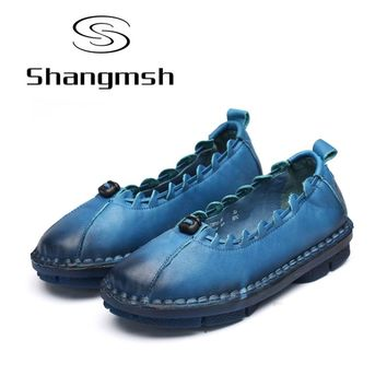 Shangmsh Ballet Flats 2017 Autumn Casual Genuine Leather Handmade Women's Shoes Slip On Round toe Solid Loafers Ladies Shoes