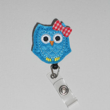 Teal Owl with Blue Stitching Customizable Work/Nursing/Healthcare/ID Badge Reel! Available with Hair Bow, Bowtie, or Plain!