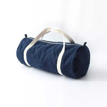 Vintage Denim Canvas Travel Bags Sports Yoga Zippers Gym Bags Tote Bag [6332335300]