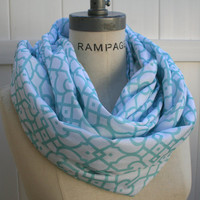 Women Infinity Scarf FREE Shipping Fashionable Sea form Green and White Loop Scarf Autumn Neckwarmer - By PiYOYO
