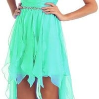 US Fairytailes Prom Chiffon Strapless Sweetheart Dress High Low Gown #2886