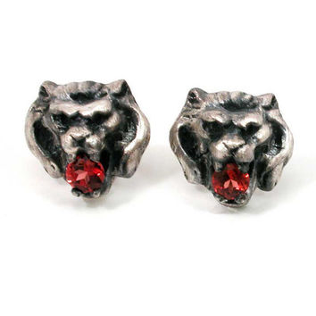 Silver Lion Head Post Earrings with Garnets by SwankMetalsmithing