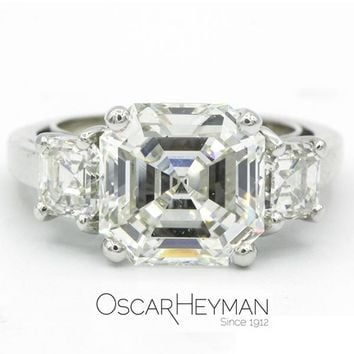 Oscar Heyman Duchess Three Stone Asscher Diamond Engagement Ring