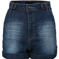 LE3NO Womens High Waist Distressed Medium Wash Denim Jean Shorts (CLEARANCE)