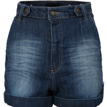 LE3NO Womens High Waist Distressed Medium Wash Denim Jean Shorts