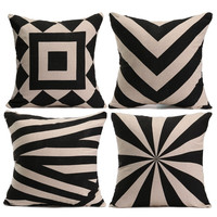 Cotton Linen Flax Black Beige Home  Throw Pillow Cover