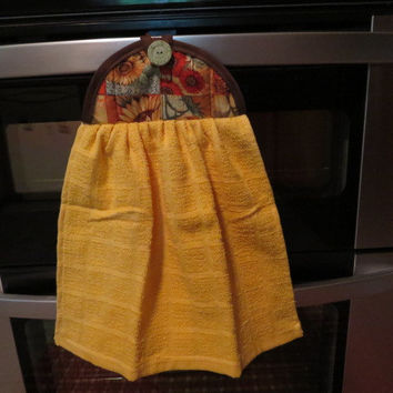 Sunflower Yellow Quilted Hanging Kitchen Dish Tea Hand Towel