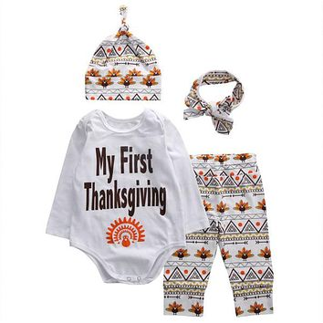 4Pcs/Sets Newborn Baby Girl Boy Clothes Letter Rompers+Floral Pants+Hats+Headband Infants Baby Kids ThanksGiving Outfits Set