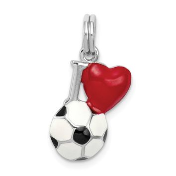 925 Sterling Silver Rhodium-Plated Enamel I Heart Soccer Ball Charm and Pendant
