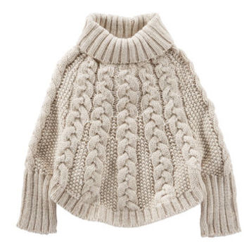 Sparkle Cable-Knit Poncho