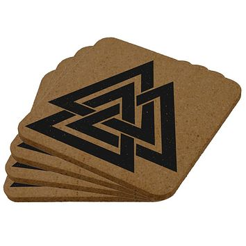 Viking Valknut Odin Symbol Square Cork Coaster (Set of 4)