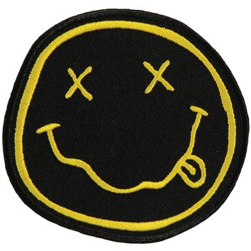 Nirvana Men's Smiley Face Embroidered Patch Black