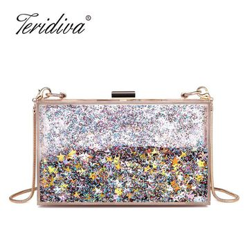 Teridiva  Liquid Clear Transparent Acrylic Women Evening Box Clutch Bag Ladies Hard Metal Clutches Messenger Crossbody Bag
