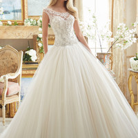 Crystal Beaded Embroidery on Tulle Ball Gown | Style 2884 | Morilee