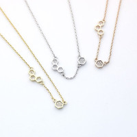 Beautiful Honeycomb necklace detailed with CZ in 3 colors - geometric jewelry