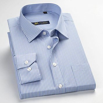 New Fashion Blue Striped Formal Men Shirts Design High Quality Long Sleeve Business Casual Shirts Men