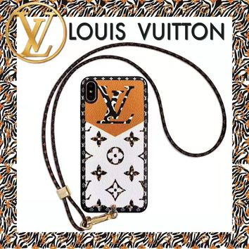 LV Louis vuitton fashion hit monochrome printed hanging rope iPhone case