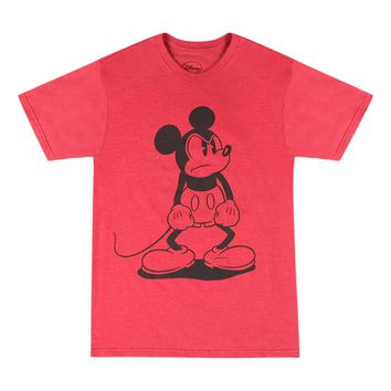 Disney Angry Mickey Mouse Vintage Style Graphic Men's Casual Printed T-shirt, Red