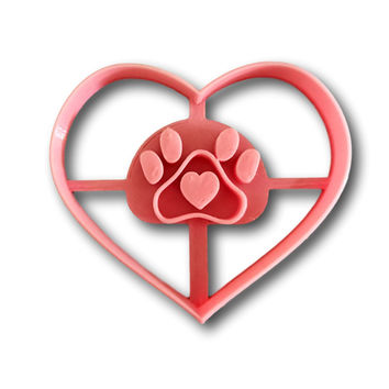 Heart in Heart Dog Paw Cookie Cutter