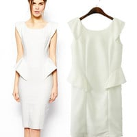 Women's Fashion Slim Ruffle Stretch Sleeveless Dress Skirt One Piece Dress [5013269060]