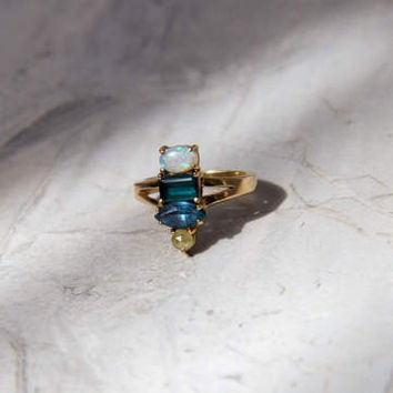 Multi-gemstone Ring with Opal, London Blue Topaz, Iolite, Raw Yellow Diamond in 14K Yellow Gold