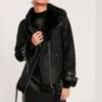 Missguided - Premium Black Faux Leather Aviator Jacket