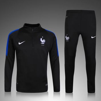 KUYOU France Euro 2016/17 Black Men Tracksuit Slim Fit