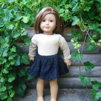 American Girl Doll Clothes, Leotard and Skirt, Sparkly Gold Leotard with Black Skirt fits 18 Inch Dolls