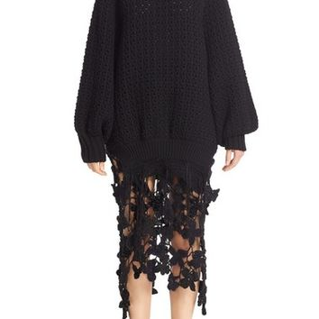 Simone Rocha Long Chunky Knit Wool Sweater with Fringe | Nordstrom