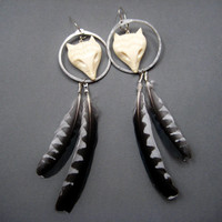 Foxy- Long Feather Earrings with Carved Bone Fox Heads and Wild Woodpecker Feathers